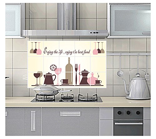 Vinilo decorativo para cocina, a prueba de aceite, extraíble, resistente al calor, resistente al agua, para azulejos, papel de aluminio, decoración comedor, multicolor