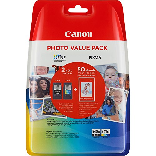 Canon PG-540XL + CL-541XL Ink cartridges for BK + XL Tricolor InkJet Pixma TS5150,5051-MX375,395,435,455,475,515,525,535-MG2150,2250,3150,3250,3550,3650,4150,4250