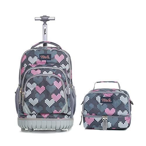 Schultrolley mit Lunchtasche für Mädchen,Tilami Schultrolley Schultaschen Schulrucksack mit Kühltasche Isoliertasche für Kinder Junge und Mädchens Klasse 3-12 Herzen -