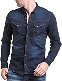 BLZ jeans - Chemise homme en jogg jean bleu brut tendance