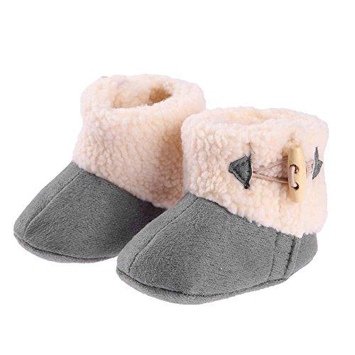 Fashion Winter Warm Baby Mädchen Stiefel Baumwolle Schuhe First Walkers (grau/14cm)