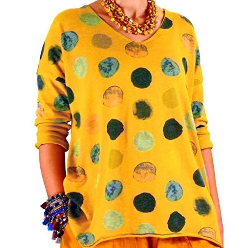 Xmiral Bluse Damen Mehrfarbig Punkt Drucken Tops Lange Ärmel Rundhals Hemd Slim Fit Outdoor Sweatshirts Sweatshirts T-Shirt Sportbekleidung(Gelb,L) -