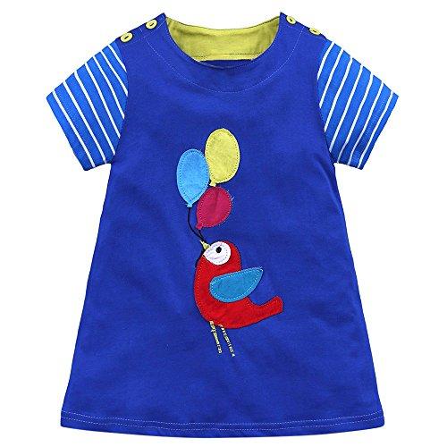 YEARNLY Baby Kleinkind-Mädchen Langarm Herbst Karikatur Streifen Prinzessin Kleid ()