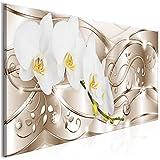 decomonkey | Bilder Abstrakt Blumen 100x40 cm | 1 Teilig | Leinwandbilder | Bild auf Leinwand | Vlies | Wandbild | Kunstdruck | Wanddeko | Wand | Wohnzimmer | Wanddekoration | Deko | Diamenten glas modern silber Orchidee