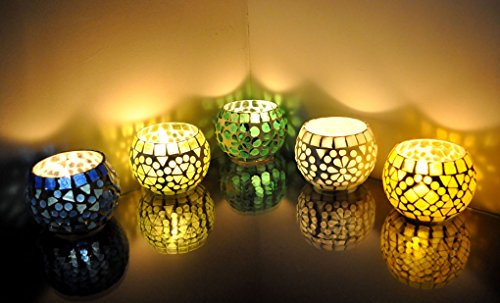 Mosaic Glass Decorative Candle Holders Set Of 5 Pcs