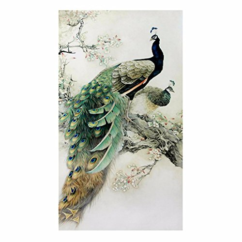 QIYUN.Z Cross Stitch 5D Embroidery Peacock Paintings DIY Handmade Round Diamond Embroidery Painting Rhinestone Cross-Stitching Set Mosaic Home Room Decoration45*28cm