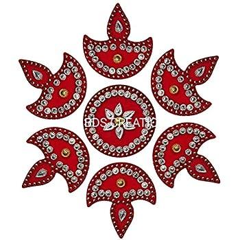 BDS CREATIONS 059 RED Designer Handcrafted Decorative Diwali Rearrangable Kundan Rangoli for Floor Decoration Set of 7pcs