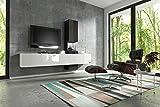 Wuun  Wohnwand Muro in Weiß– Schwarz Hochglanz/Verschiedene Farben/Beleuchtung Optional/Schrankwand Anbauwand TV-Board, LED-Weißlicht