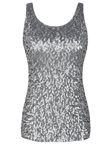 PrettyGuide Damen Shimmer Glam Pailletten Verziert Sparkle Trägershirt-Weste Tops XL/EU44-46 Mattes Silber