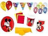 XXL Party Deko Set 3.Geburtstag Mickey Mouse Kindergeburtstag für 8 Personen rot gelb Junge Party Geschirr Party Deko