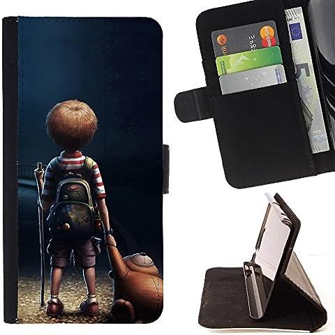 Momo Phone Case / Flip Funda de Cuero Case Cover - Historieta del ni?o del muchacho del oso de peluche Arte Amistad - Samsung Galaxy S6