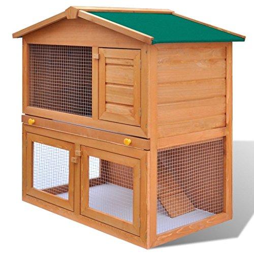 Vidaxl conigliera all'aperto 3 porte legno casetta piccoli animali domestici