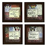 Adorn the walls of your living space with this exquisitely made, aesthetically pleasing, and visually stimulating 4 piece set of framed wall hanging art print. The art is motivational and inspiring. The frames are made of brown synthetic wood and wil...