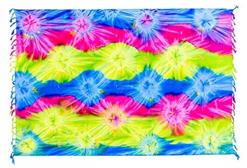Sarong Pareo Wickelrock Strandtuch Tuch Wickeltuch Handtuch - Blickdicht - ca. 170cm x 110cm - Blau Rosa Grün mit Batik Motiv Tie Dye Handgefertigt inkl. Kokos Schnalle in Fischform (Grün Blau Tie-dye)