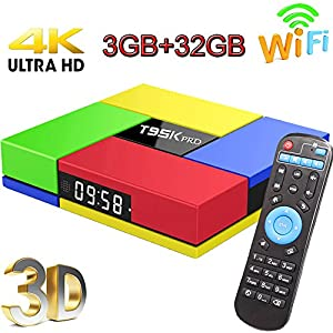 Android TV Box, Super-VIP T95K Pro Smart 4K TV Box Android 7.1 Amlogic 912 Octa Cora 3GB DDR3 /32GB Bluetooth 4.0 Wifi Set Top Boxes Support 3D 4K Ultra HD TV  2017 Upgraded