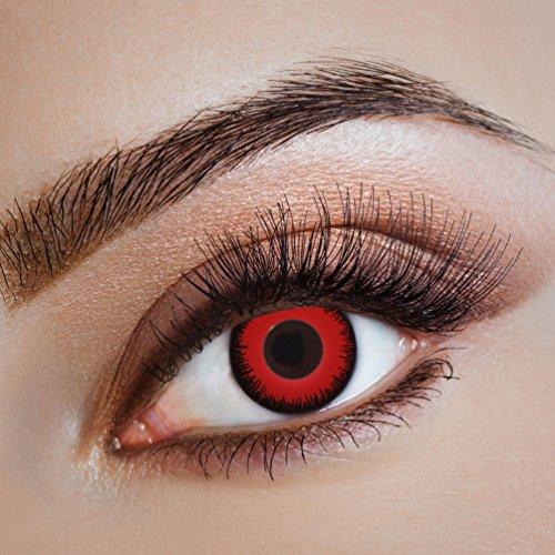 Karneval-Klamotten Kontaktlinsen farbig-e Motiv-Linsen Jahreslinsen ohne Stärke Halloween Fasching rot schwarz Drache Drachenauge