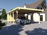 Carport Flachdach AVUS XII 500 x 800 cm Mit Geräteraum KVH Bausatz Konstruktionsvollholz Fichte