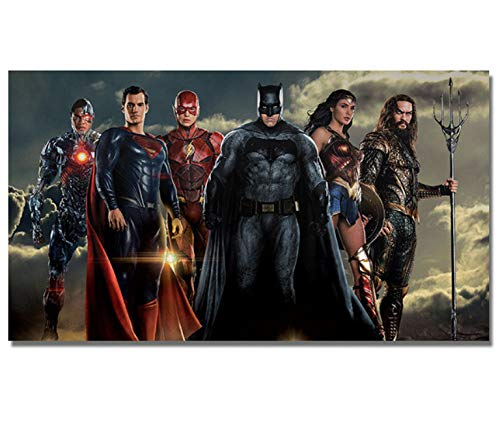 Justice League Film Neue Poster Super Hero Kunst Wand Leinwand Batman Superman Aquaman Wonder Woman Flash Poster Drucke Wand Decor 40x70 cm Ohne Rahmen (Superman Wand-kunst)