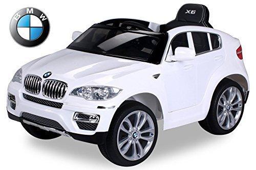Preisvergleich Produktbild Kinder Elektroauto Original BMW X6 Lizenzierter 2 x 45 Watt Motor Ledersitz, Elektro Kinderauto Kinderfahrzeug (weiß)