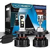 NOVSIGHT H4 LED Ampoules Phares 8000LM 60W Kit de Conversion Ampoules pour Voiture Auto 6500K Blanc Froid IP68 Etanche Garantie 2 Ans