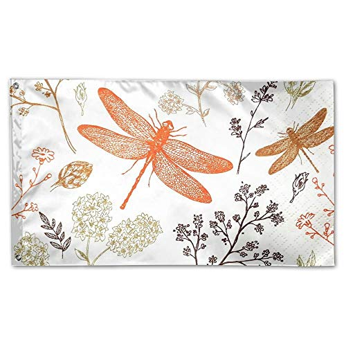 WEERQ Garden Flag Dragonflies Fly Rround Flowers Outdoor Yard Home Flag Wall Lawn Banner Polyester Flag Decoration 30x45CM -