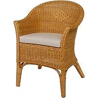 Sedia/poltroncina in rattan naturale colore miele con cuscino beige