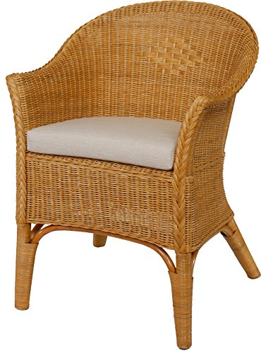 rattan sessel natur in der farbe honig inkl polster beige rattanstuhl lounge smash. Black Bedroom Furniture Sets. Home Design Ideas