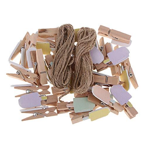 Hellery 30 Mini Holz Kleidung Pin Fotopapier Peg Wäscheklammern Craft Clips W/Strings - EIS, 3,5 × 1,6 × 1 cm (Wäscheklammern Halloween-basteln Mit)