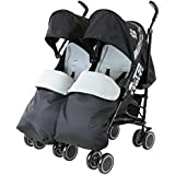 Zeta Citi TWIN Stroller Buggy Pushchair - Black Double Stroller Complete With FootMuffs