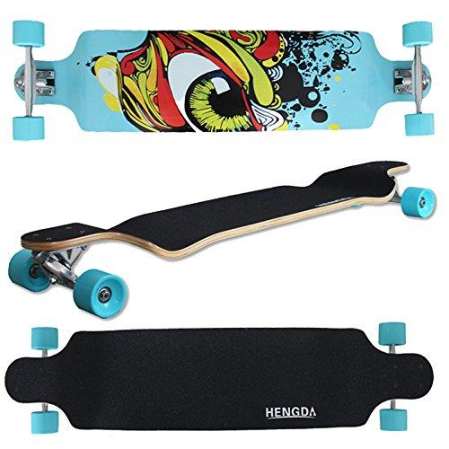 Hengda® Long Board Skateboard Mini Cruiser Board Komplettboard 104cm Kugellager ABEC-9 Top mount Rollen 70x51mm 9 Lagen Ahornholz