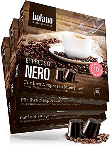 Nespresso kompatible Kapseln von Belano für Kapsel-Maschine - 75x Kaffeekapseln 100% Arabica Kaffee Stärke 10 Lungo Caffe Crema für Nespresso-Maschinen