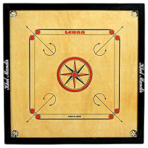 GSI Khel Mandir Engineered Wood Gloss Finish Carrom Board with Coins, Striker and Powder, Large 32 Inch 4Mm (Brown, ACW50-LARGE)
