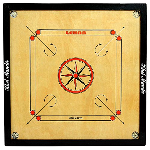GSI-Khel-mandir-Full-Large-Size-32-4mm-Gloss-finish-Carrom-board-with-coins-striker-and-powder