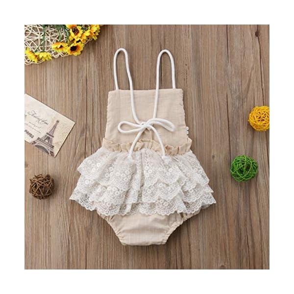 Carolilly Mono Bebé Niña Vestido Tirantes Verano sin Manga Recién Nacido Body de Algodón con Encaje (0 a 24 Meses) 4