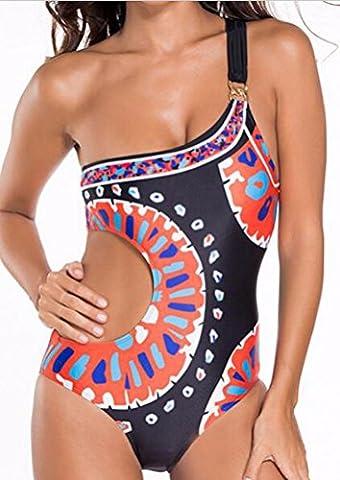 sunifsnow femmes sexy une épaule une pièce d'été Imprimé bain Bikini pour femme - multicolore - M