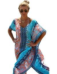 Damen Sexy Chic Graphic Miami Beach Kaftan Poncho Badeanzug