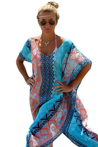 Damen Sexy Chic Graphic Miami Beach Kaftan Poncho Badeanzug (One Size, wie gezeigt) (Kleid Kaftan Kurze)
