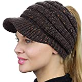 Sportwow Womens Winter Beanie Hat,Warm Beanie Tail Soft Stretch Cable Knit Messy High Bun Beanie Hat Cap