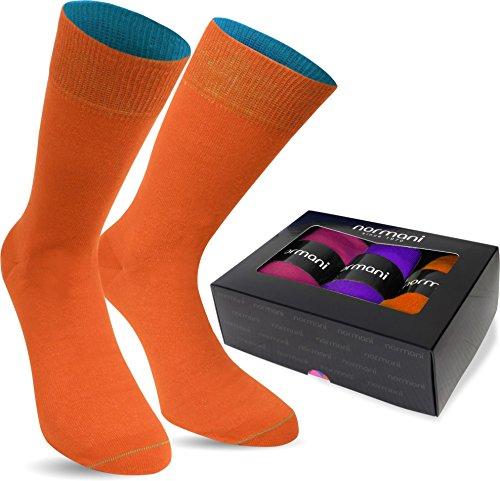 normani 3 Paar Multicolor Socken Bunte Strümpfe für Damen und Herren Farbe Orange/Lila/Magenta Größe 39/42
