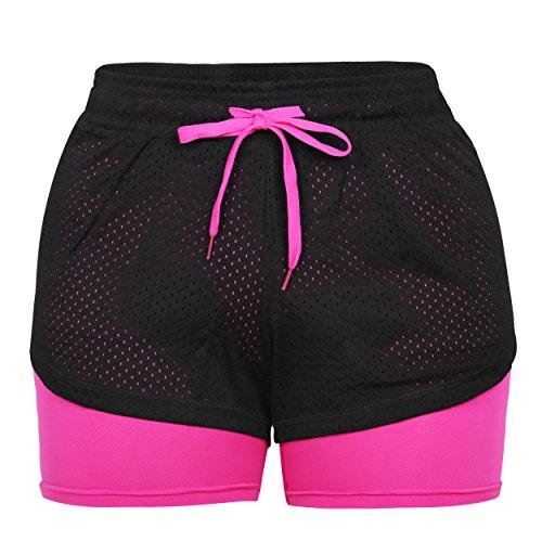 Eizur Short 2en 1pour femme - Short de sport pour le yoga, le fitness, la course, l'entraînement, le jogging - Short extensible Taille M Rose Rot 1