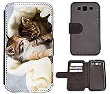 Flip Cover Schutz Hülle Handy Tasche Etui Case für (Samsung Galaxy S3 Neo, 1036 Katze Katzen Babys Kätzchen Braun Weiß Süß)