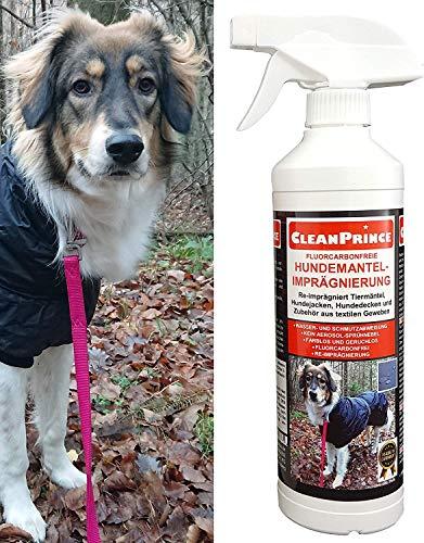 CleanPrince Hundemantel-Imprägnierung 0,5 Liter Hundemantelimprägnierung Tierjacken Hundedecken Hundesofa Hundebett Hundeoverall Imprägniermittel Fleckschutz Einwaschimprägnierung -