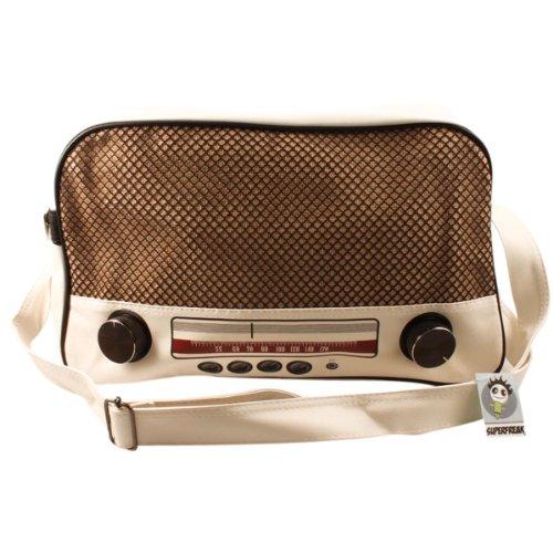 """Superfreak® Tasche """"Radio"""" Umhängetasche Radiotasche groß & quer, Farbe: Weiß – Drehregler schwarz"""