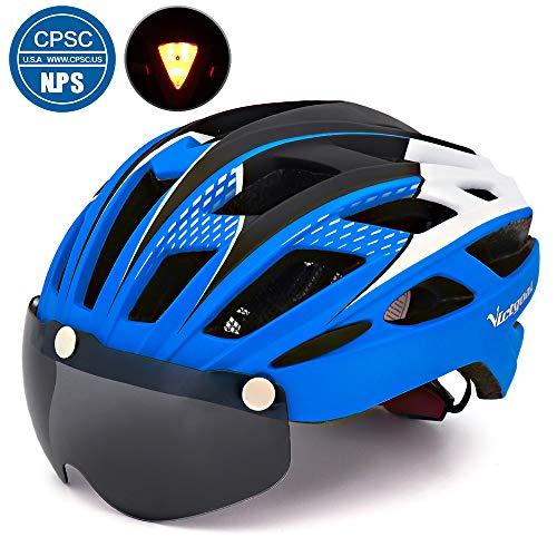 Victgoal Fahrradhelm Herren Damen Erwachsene Fahrrad Zyklus Helm Magnetischer Visier-Schutzbrille mit LED-Rücklicht 57-61 cm (Blue)