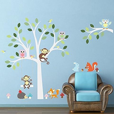 Ferris Store DIY Cartoon Forest Animals Monkey Owls Fox Rabbits Hedgehog Tree Nursery Wall Stickers Wall Murals PVC Removable Art Wall Decals for Kids Girls Room Decoration