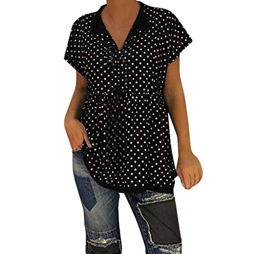 CAOQAO Damen Mode LäSsig Tunika V-Ausschnitt Kurzarm Dot-Intarsia Print Shirts Solide Top Weste Bluse ()