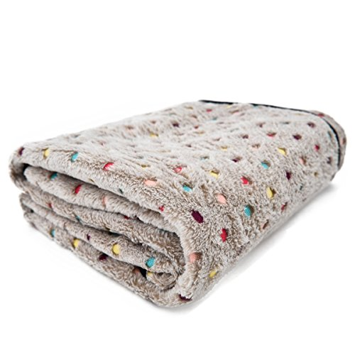 PAWZ Road Pet Dog Manta Fluffy Fleece Fabric Suave y Linda Warm Dot Print Manta Lavable para Gatos y Perros Beige 77 * 53cm