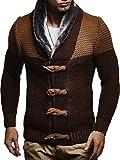 LEIF NELSON Herren Strickjacke Jacke Pullover Hoodie Langarm Sweatjacke Sweater Schalkragen Strick LN5370; Größe M, Braun-Camel
