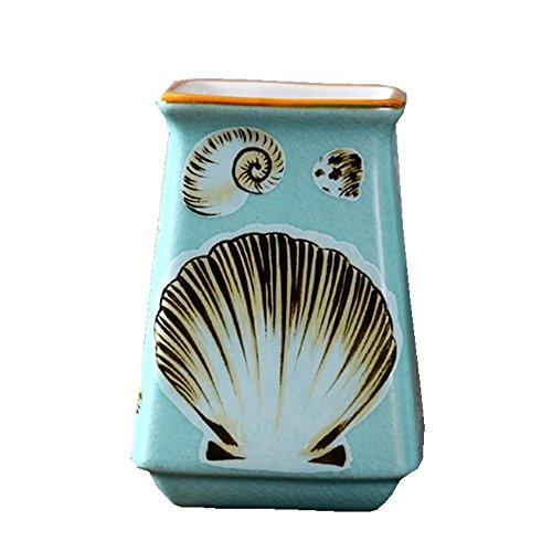 Snowfig portaspazzolino bagno multifunzione blu conchiglia porta spazzolino in ceramica per dentifricio portapenne porta fiori