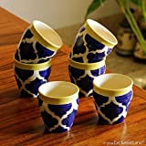 ExclusiveLane Tropic of Kulhads Moroccon Handpainted Ceramic Kulhad Cup Coffee & Chai Kullad Tea Cups Set of 6 (120 ML, Blue/White/Yellow, Microwave & Dischwasher Safe)